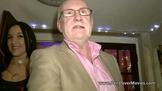 Babe with 60 years old man at Radlett swingers party
