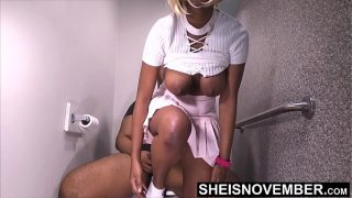 Taboo Fauxcest! Step Brother You Better Not Tell Your Dad I Fucked You, Innocent Ebony Step Sister Msnovember Pull Down Panties And Ride His BBC Big Natural Ebonyboobs Sagging On Toilet Video On Sheisnovember
